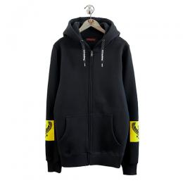 357CLG Square Flocky HJS Unisex Zip-Up Hoodie (Black)