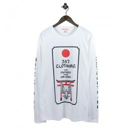 "357CLG ""Torii Bird"" Long Sleeve T-Shirts (White)"