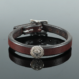 357LJY Concho Leather Bracelet Single (Silver)