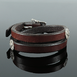 357LJY Concho Leather Bracelet Double (Silver)